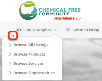 5. Search Chemical Free Community - Browsing options home page