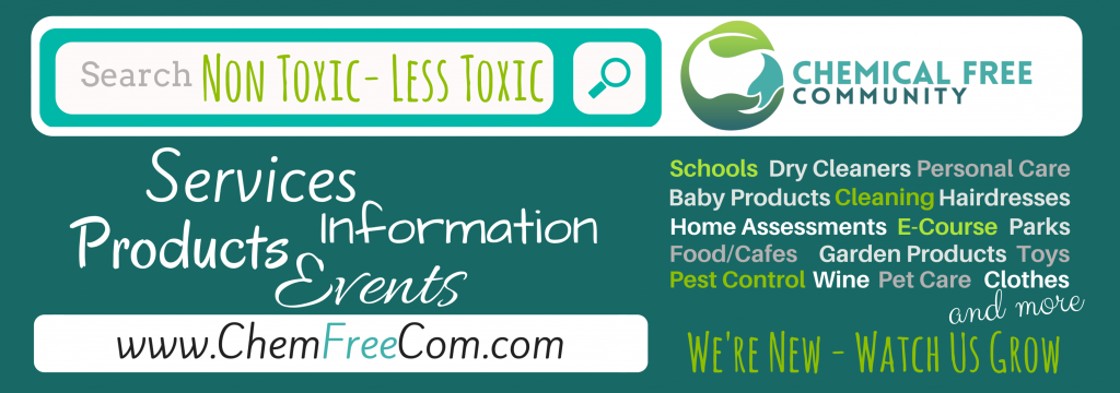 Chemical Free Community teal banner