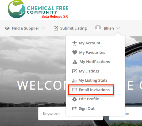 Scout_invite button on ChemFreeCom dashboard