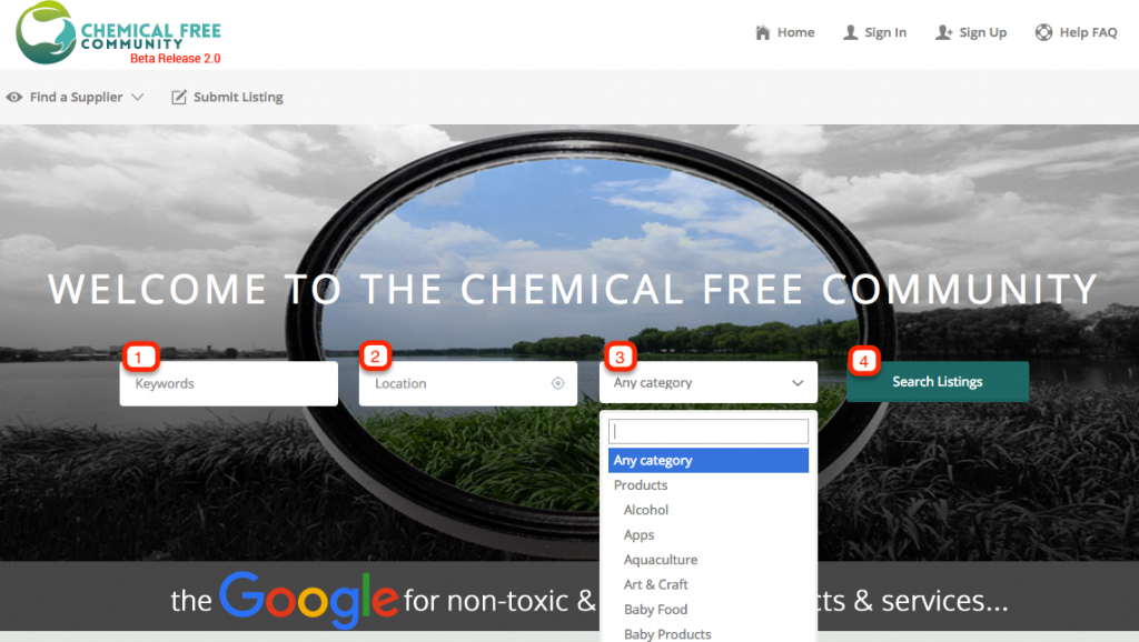 Search Chemical Free Community Directory - home page