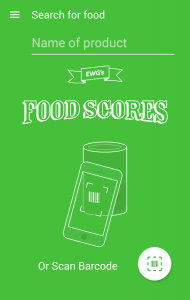 Food Scores from EWG for searching for good food products