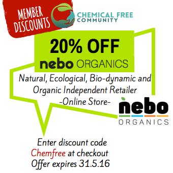 ChemFreeCom memebers discounts - nebo organics online store