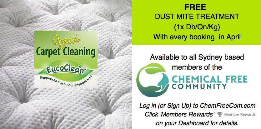 Chemfreecom members discount offer - Organic Carpet Cleaning