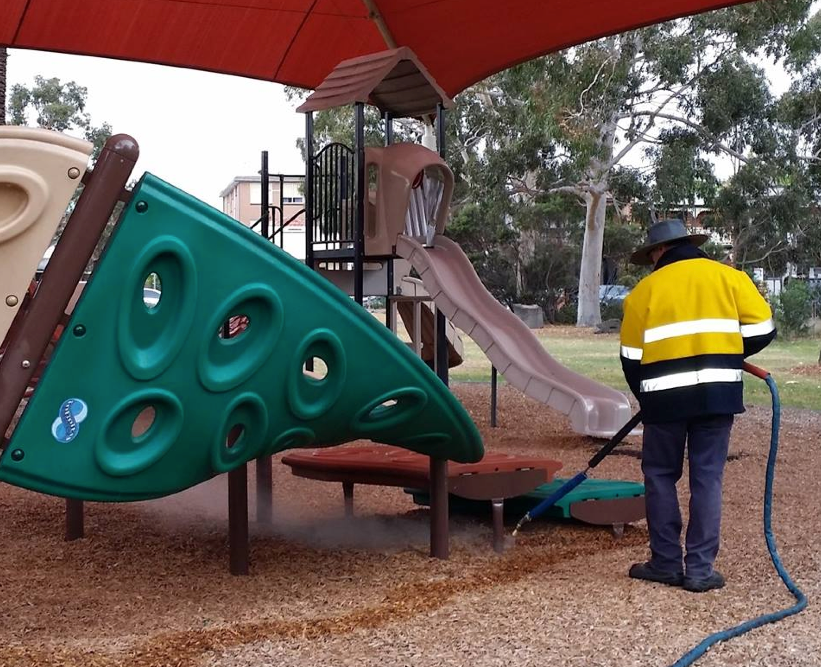 steamweeding a playground